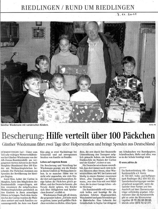 Schwäbische Zeitung Artikel vom 07.11.2011