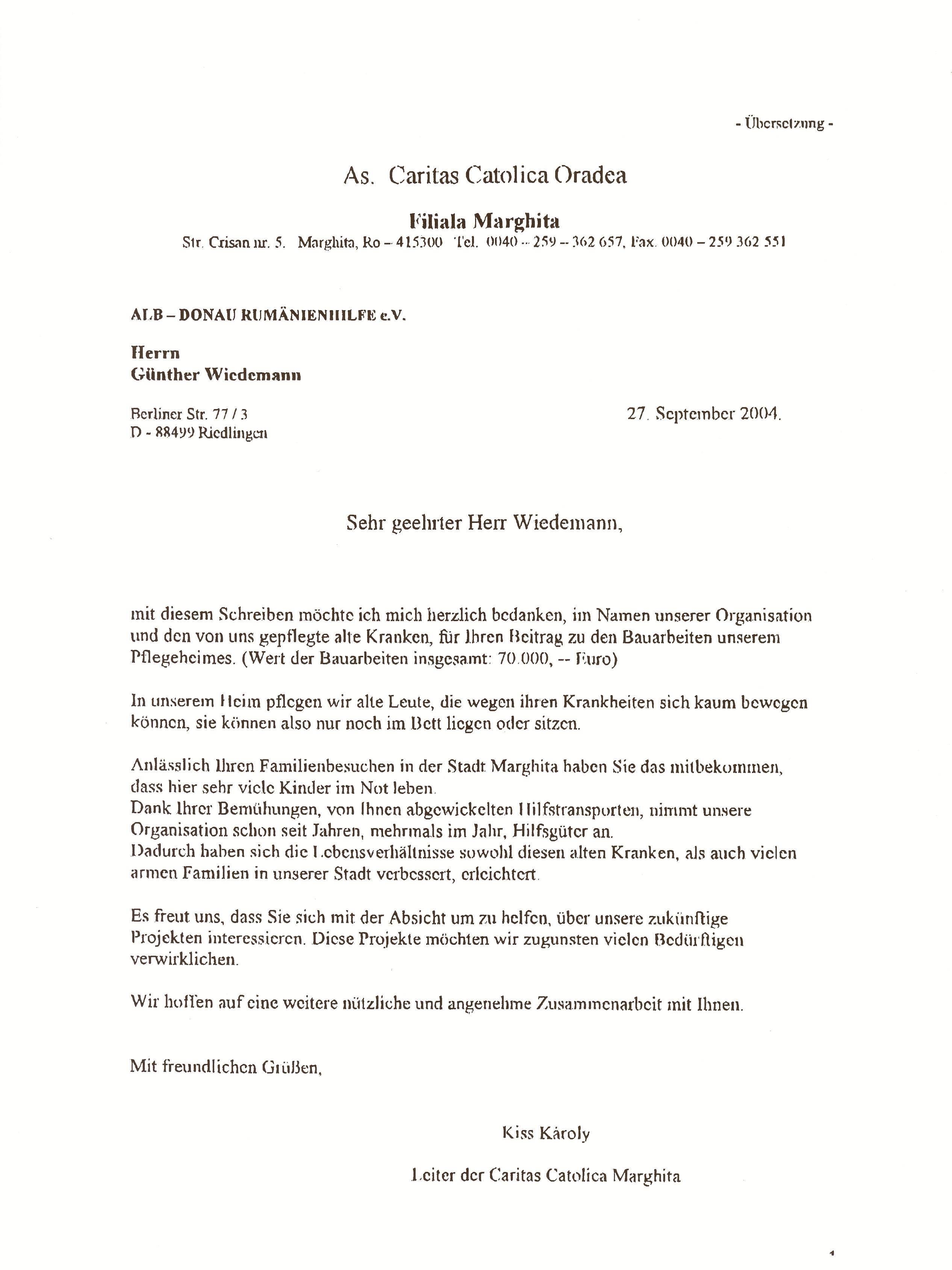 Übersetzung Dankschreiben 2004